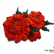 Брошь «Букет красных роз»