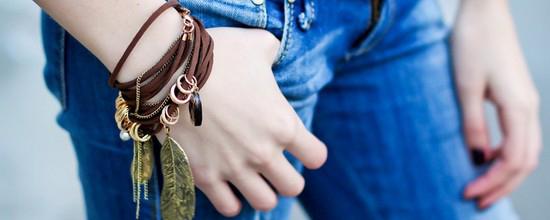 коричневый замшевый браслет